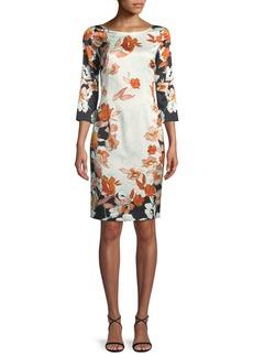 St. John Modern Floral Stretch Charmeuse Dress