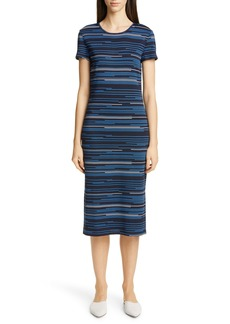 St. John Collection Modern Intarsia Stripe Midi Sweater Dress
