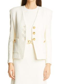 St. John Collection Modern Slub Knit Patch Pocket Jacket