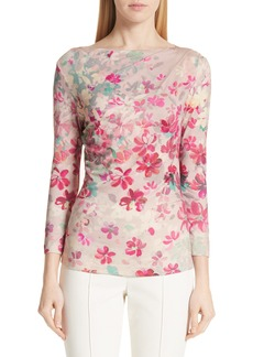 St. John Collection Multicolor Brushstroke Floral Print Top