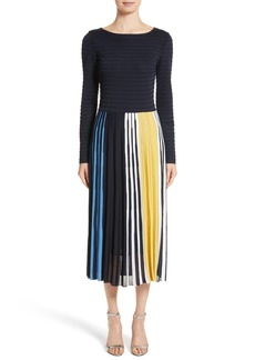 St. John Collection Multicolor Ombré Placed Stripe Knit Dress