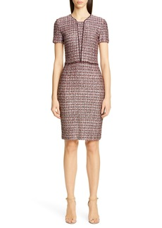 St. John Collection Multitexture Inlay Knit Sheath Dress