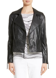 St. John Collection Nappa Leather Moto Jacket