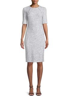 St. John Olivia Boucle Knit Origami-Neck Dress