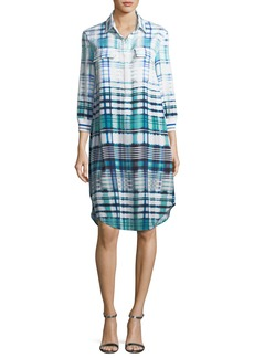 St. John Ombré Plaid Silk-Blend Shirt Dress