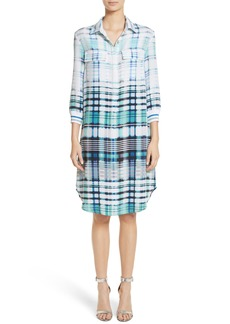 St. John Collection Ombré Plaid Stretch Silk Shirtdress