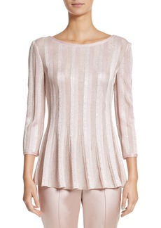 St. John Collection Ombré Sequin Stripe Knit Top