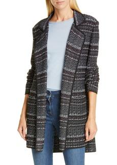 St. John Collection Open Front Texture Bouclé Tweed Jacket