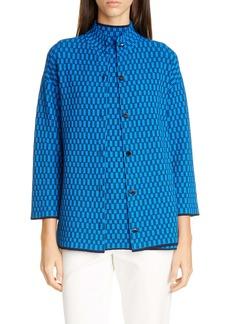 St. John Collection Optic Check Jacquard Knit Jacket