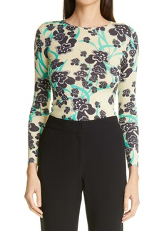 St. John Collection Orchid Print Wool & Silk Sweater