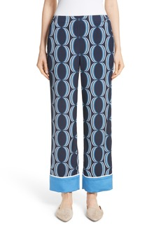 St. John Collection Oval Print Stretch Silk Twill Pants