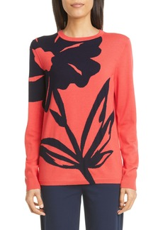 St. John Collection Oversize Floral Intarsia Wool Sweater