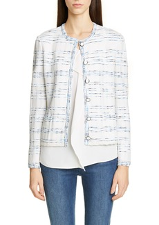 St. John Collection Pacific Space Dyed Tweed Knit Jacket