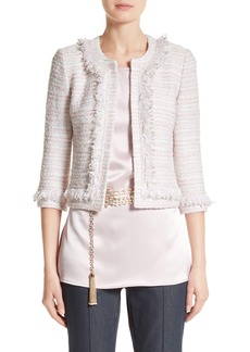 St. John Collection Padmesh Tweed Knit Fringe Jacket