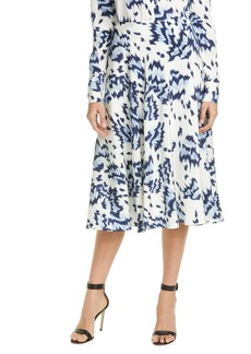 St. John Collection Painted Butterfly Print Skirt