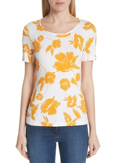 St. John Collection Painted Floral Jersey Tee