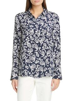 St. John Collection Painted Floral Paisley Stretch Silk Crêpe de Chine Shirt