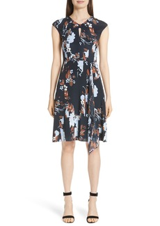 St. John Collection Painted Floral Print Jersey Dress
