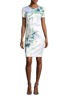 St. John Painted Leaves Stretch-Satin Dress