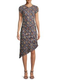 St. John Painterly Multi-Tweed Knit Asymmetric Fringe Dress
