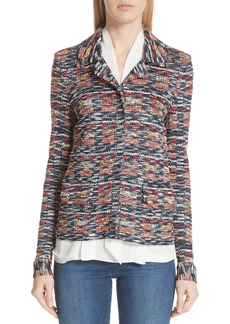 St. John Collection Painterly Multi Tweed Knit Jacket