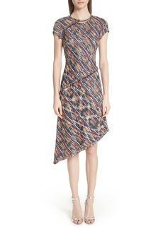 St. John Collection Painterly Tweed Knit Asymmetrical Dress