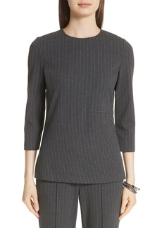 St. John Collection Pinstripe Double Face Jersey Top