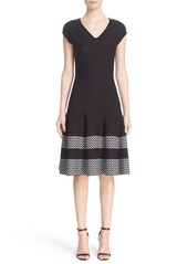 St. John Collection Pinwheel Jacquard Fit & Flare Dress