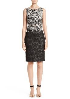 St. John Collection Pixelated Metallic Jacquard Dress