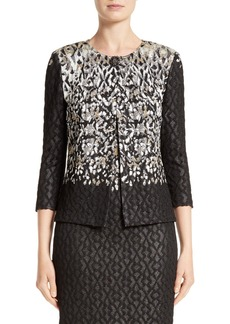 St. John Collection Pixelated Metallic Jacquard Knit Jacket
