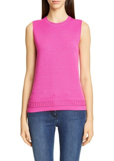 St. John Collection Placed Pattern Sleeveless Sweater