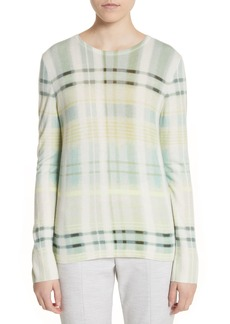 St. John Collection Plaid Cashmere Sweater
