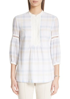 St. John Collection Plaid Cotton Voile Top