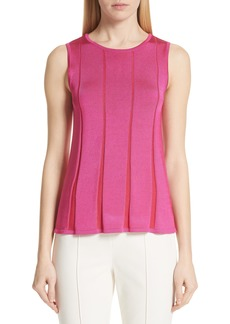 St. John Collection Plaited Fit & Flare Sleeveless Sweater