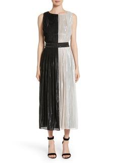 St. John Collection Pleated Chiffon Midi Dress