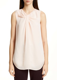 St. John Collection Pleated Neck Silk Georgette Shell