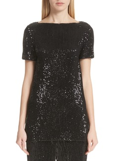 St. John Collection Pleated Sequin Embellished Tulle Tunic