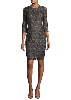 St. John Collection Plume Embroidered Guipure Lace Dress