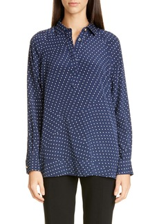 St. John Collection Polka Dot Print Stretch Silk Blouse