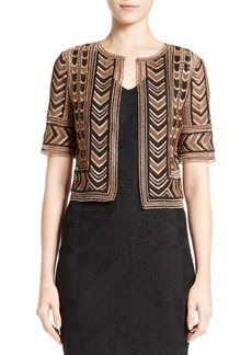 St. John Collection Priya Embroidered Crop Jacket
