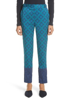 St. John Collection Ratan Print Stretch Silk Twill Pants