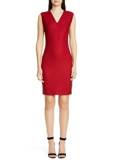 St. John Collection Refined Textured Float Knit Sheath Dress