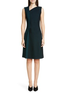 St. John Collection Refined Textured Herringbone Fit & Flare Dress