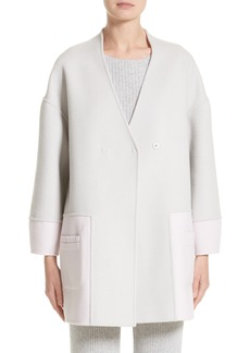St. John Collection Reversible Wool Blend Cocoon Coat