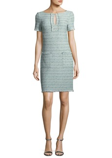 St. John Riana Multi-Tweed Split-Neck Dress