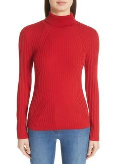 St. John Collection Rib Knit Turtleneck Sweater