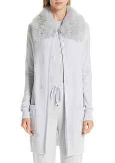 St. John Collection Rib Sequin Knit Cashmere Blend Jacket with Removable Genuine Shearling Collar