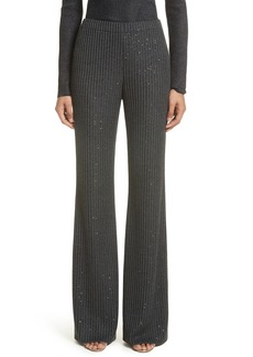 St. John Collection Rib Sequin Knit Flare Leg Pants