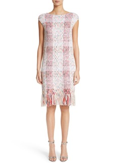 St. John Collection Ribbon Macro Plaid Knit Dress