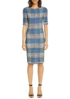 St. John Collection Ribbon Plaid Knit Sheath Dress